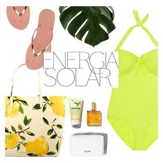 """solar energy"" by sanddollardubai ❤ liked on Polyvore featuring Kate Spade, Sunseeker, Havaianas and Magdalena"