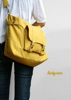 CARSON // LemonChiffon // 032 // Luckycann // Handmade // Everyday Canvas Bag //  Holiday Sale // 10% off. $45.00, via Etsy.