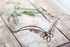 Fairy elven circlet tiara -   copper aqua chalcedony, chriysolite headpiece circlet tiara- fairytale woodland pixie