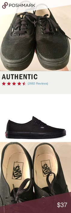 Vans Classics Authentic Black Sneakers All black Vans - Classic Authentic. Worn ONCE - soles are still in nearly perfect shape. A few tiny scuffs but they still look really nice! (Men's size 6.5, Women's size 8) Vans Shoes Sneakers