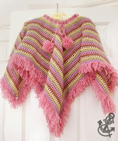 Extremely Easy Kids' Crochet Poncho with Tear Drop Corner: free crochet pattern Pattern for easy crochet granny square poncho for children. Perfect to wear at spring and autumn. Crochet Toddler, Crochet Bebe, Crochet Girls, Crochet For Kids, Easy Crochet, Free Crochet, Crochet Tops, Crochet Poncho Patterns, Granny Square Crochet Pattern
