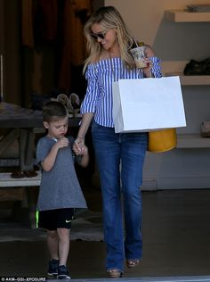 Bonding time: On Monday, Reese Witherspoon, 40, enjoyed a day of shopping with little Tenn...