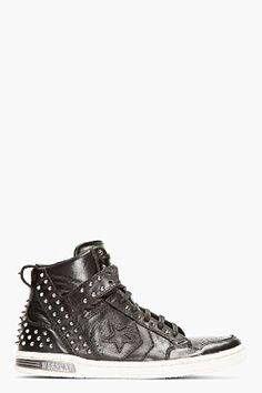 CONVERSE BY JOHN VARVATOS Black Studded Leather Weapon High-Top Sneakers  Studded Converse 9fccc73f26