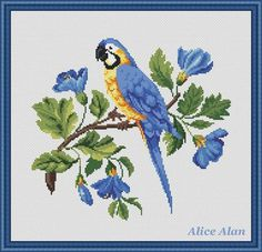 Cross Stitch Pattern Bird Parrot in blue flowers by HallStitch