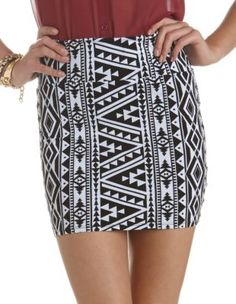 tribal cotton spandex skirt