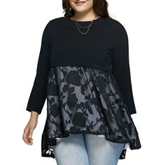 It the model has to wear PANTS with this item, then it sure doesn't qualify as a dress in my opinion!!!  Plus Size Lace Spliced Asymmetric Dress In Black | Twinkledeals.com