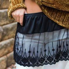 Shirt Extender Black Scalloped Lace