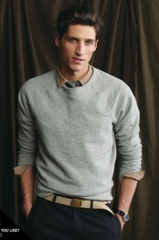 I love this look for males. Wearing a collared shirt and then a a sweater over it- with the collar sticking out! Its so trendy and adds a casual vibe!