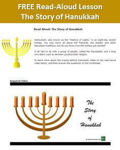 FREE Online Lesson for Students: The Story of Hanukkah - You may know all about the Menorah, the dre Hanukkah Crafts, Hanukkah Menorah, Hanukkah Traditions, Online Lessons, Help Teaching, Festival Lights, You May, Read Aloud