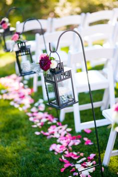 Magenta & Silver} Country Club Wedding Aisle Lined with Flower Adorned Hanging Lanterns and Rose Petals Cheap Wedding Decorations, Ceremony Decorations, Wedding Themes, Wedding Ideas, Magenta Wedding, Wedding Colors, Wedding Flowers, Wedding Aisles, Altar