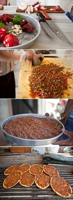 Making Lahmajun (thin dough topped with minced meat, vegetables and herbs); photos ©️ Tuba Şatana