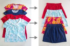 Skirts for Meg. Here's a really cute way to repurpose old t-shirts. Sew up some skirts! Go here for the full tutorial => The 10 Minute Skirt From Old T-Shirts Happy Sewing! Diy Clothes Refashion, Diy Clothing, Sewing Clothes, Sewing Blogs, Easy Sewing Projects, Sewing Tutorials, Sewing Hacks, Diy Kleidung, Blog Couture