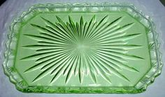 Genuine Antique c1930's Art Deco Green Depression Glass Tray