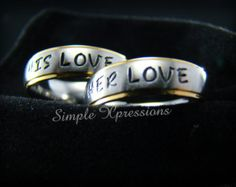 2 Rings Matching Couples Rings Polished Black by SXpressions