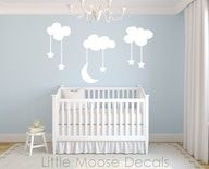 Children Wall Decal Night Sky Vinyl - Nursery Decals Baby Room Clouds Stars Moon White. $48.00, via Etsy..