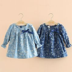 2017 new autumn Baby Girl Clothes Lovely flower Pattern Cotton Girl Dress New princess bow dress Casual Girls Clothes 2-8y (8)