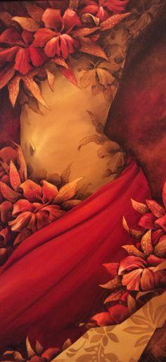 """"""" Fleurs du mal"""" , acrylique sur toile. 80x40cm. Collection 2015"""