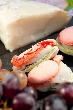 Savoury Macarons: spinach & tomato macaron with French Brie filling by Loretta Liu...