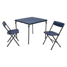 Cosco 3 Piece Indoor/Outdoor Center Fold Table and 2 Chairs Tailgate Set, Black