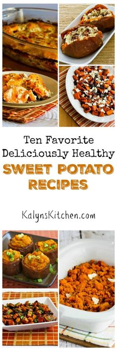 I'm a big fan of savory sweet potato dishes, and here are my Ten Favorite Deliciously Healthy Sweet Potato Recipes. All these recipes are perfect for a holiday meal, but I eat sweet potatoes all winter long! [found on KalynsKitchen.com]