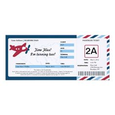 Birthday Boarding Pass Ticket Invitations