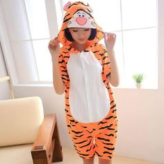Shineye Tigger Adult ⑦ Short Sleeve Cotton Hooded Pajamas Cosplay ٩( ‿ )۶ Cartoon  Animal Onesies Sleepwear Suit Home Clothing Summer Shineye Tigger Adult ... 583bf12c4