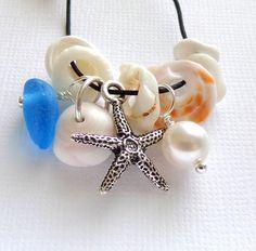 BEACH JEWELRY Sea Glass Sea Shells Necklace by GardenLeafSeaside, $20.00