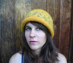 Handknit Felted Yellow Hat With Narrow Rolled Brim and Satin Novelty Yarn Band