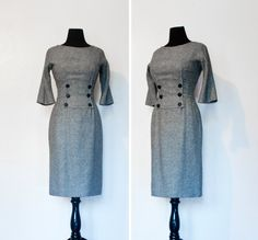 Vintage I.MAGNIN 1950s Dress - Grey Wool Tweed Wiggle Suit Dress Mad Men 50s-60s  - Small