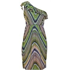Swirled Print One Shoulder Dress With Ruffle Neckline ($14) ❤ liked on Polyvore featuring dresses, olive, army green dress, one shoulder dress, green formal dresses, sexy formal dresses and green dress