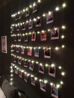 Cute Room Ideas, Cute Room Decor, Room Lights Decor, Wall Ideas, Bedroom Fairy Lights, Diy Room Ideas, String Lights In The Bedroom, Diy Ideas, Teal Room Decor