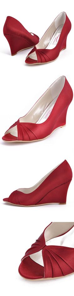 Wedding Shoes And Bridal Shoes: Ep2009 Burgundy Peep Toe High Heel Wedges Satin Wedding Bridal Party Shoes Us 10 BUY IT NOW ONLY: $32.95