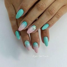 Color transition nails Gel polish sea nails Ideas of ombre nails Marine nails Oval nails overflow nails Pink and turquoise nails Sea nails ideas Nail Art Design Gallery, Best Nail Art Designs, Gel Nail Designs, Nails Design, Beach Nail Designs, Sea Nails, Pink Nails, Turquoise Nail Art, Marine Nails
