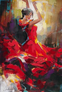 Beautiful dancer in a red dress by artist Anatoly Metlan - Park West Gallery