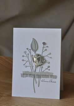 Silver and grey die cut card Wedding Cards Handmade, Beautiful Handmade Cards, Greeting Cards Handmade, Paper Cards, Diy Cards, Karten Diy, Sympathy Cards, Card Tags, Anniversary Cards