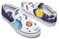 Space Notebook Slip-On Shoes Painted Canvas Shoes, Custom Painted Shoes, Painted Vans, Painted Sneakers, Vans Slip On Shoes, Custom Vans Shoes, Drawing On Shoes, Shoe Painting, Simple Shoes
