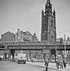 """""""Liverpool Overhead Railway at Georges Dock Gates. The train is heading for Dingle in early Liverpool Images, Liverpool Life, Liverpool Waterfront, Liverpool Docks, Liverpool History, Liverpool Street, Liverpool England, Old Pictures, Old Photos"""