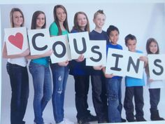 Cousin photo idea, but make the sign to look like a scabble tile piece and use each kids place in the birth order as the number on the tile