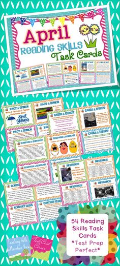 April Reading Skills Task Cards!  Review the fundamental reading skills with these engaging task cards. $