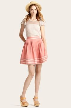 Orla Kiely- I LOVE this skirt!! Must recreate: gathered skirt with gold piping on waistband and on pin tucks