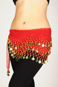 : Red Belly Dance Skirt With Gold Coins (Great Gift Idea): Everything Else