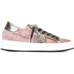 Philippe Model embroidered sneakers (€215) via Polyvore featuring shoes, sneakers, pink, pink sneakers, patterned shoes, print sneakers, embroidered shoes and pink shoes