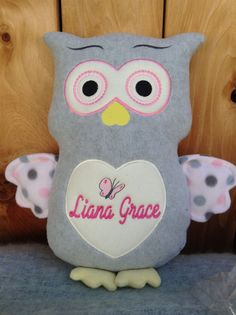 Monogrammed baby gift embroidered monkey made in usa exclusively monogrammed baby gift embroidered owl made in usa exculusively offered by personalized by world class negle Image collections