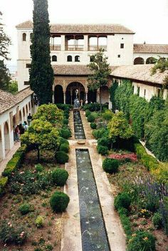 The Alhambra, Granada, Andalusia Spain. It was originally constructed as a fortress in 889 and converted into a Royal Palace in 1333 by Yusef I, Sultan of Granada. Alhambra Spain, Granada Spain, Andalusia Spain, Gardens Of The World, Paradise Garden, Islamic Architecture, Spain And Portugal, Jolie Photo, Parcs