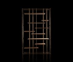 Contemporary bookcase / solid wood / steel / brass CAGE-B by Massimo Castagna Henge Milan Furniture, Luxury Furniture, Furniture Design, Contemporary Bookcase, Grill Design, Wood Steel, Wine Storage, Storage Shelving, Shelving Systems