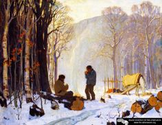 Early Winter Morning In The Woods, Baie-saint-paul Artwork By Clarence Gagnon Oil Painting & Art Prints On Canvas For Sale Canadian Painters, Canadian Artists, Impressionist Paintings, Landscape Paintings, Landscape Art, Clarence Gagnon, Hunters In The Snow, Of Montreal, Winter Art