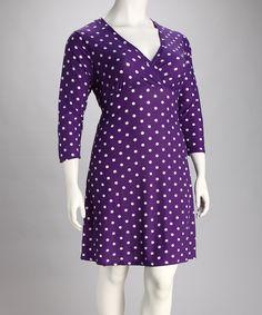 Love this Purple & White Polka Dot Surplice Dress - Plus by jon & anna on #zulily! #zulilyfinds