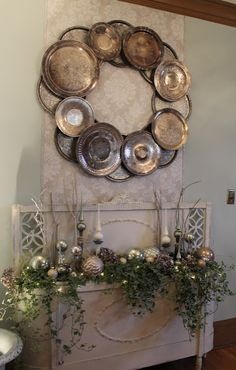 new uses for old pots and plans   Love the wreath out of old silver, tin, serving pieces