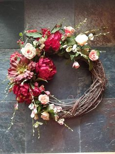 Rustic strawberries and succulents- Grapevine wreath-Burgundy Peony- Coral and Peach door decor Floral Wedding, Diy Wedding, Summer Wreath, Spring Wreaths, Coral Roses, Deco Wreaths, Wild Strawberries, Wreath Crafts, Grapevine Wreath