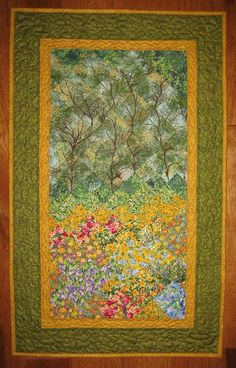 Art Quilt Summer Trees and Flowers Fabric Wall by TahoeQuilts